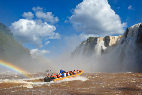 Iguazu river and boat